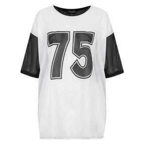 Topshop '75' Mesh Jersey Top
